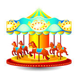 Merry-go-round. Small classic children merry-go-round with horses Stock Images