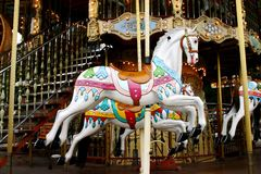 Merry go round. Colorful merry go round turning Stock Image