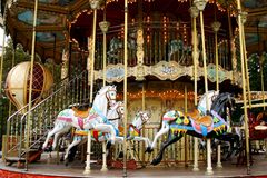Merry go round. Colorful horses on a merry go round Royalty Free Stock Image