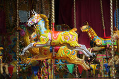 Merry go Round. A brightly and multi-coloured horse on an old fashioned merry go round Stock Photos