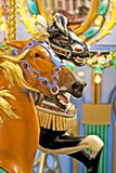 Merry go Round. Close up image of two horses on a merry go round Royalty Free Stock Photo