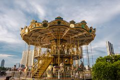Merry go round at Asiatique in Bangkok, Thailand. stock images