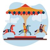 Merry-go-round or carousel isolated icon children and attraction fun fair. Fun fair attraction merry-go-round or carousel isolated icon children vector boy on royalty free illustration