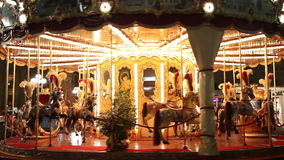 Merry-go-round. Carousel at night stock video footage