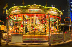 Merry-go-round in the Christmas market in the Southbank Centre, London Royalty Free Stock Photo