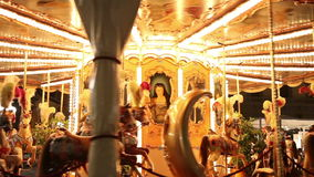 Merry-go-round close up. Merry-go-round in an amusement park stock video footage