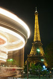 Merry go round with eiffel tower Royalty Free Stock Photo