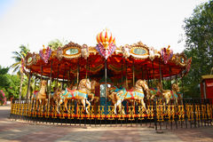 Merry Go Round in Empty Theme Park Royalty Free Stock Image