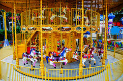 Merry Go Round in Empty Theme Park Stock Image