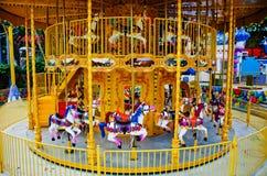 Merry Go Round in Empty Theme Park Stock Image