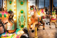 merry go round horse carousel ride Stock Images
