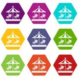 Merry go round horse ride icon set color hexahedron. Merry go round horse ride icon set many color hexahedron isolated on white vector illustration Royalty Free Stock Photos