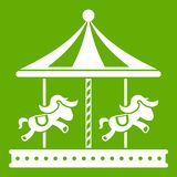 Merry go round horse ride icon green. Merry go round horse ride icon white isolated on green background. Vector illustration Royalty Free Stock Photo