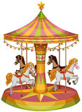A merry-go-round horse ride. Illustration of a merry-go-round horse ride on a white background Stock Photo