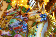 Merry-go-round horses. Vintage merry-go-round wooden horses Royalty Free Stock Photography