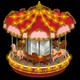 Merry-go-round with horses on a black background Royalty Free Stock Photography