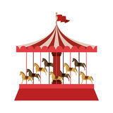 Merry Go Round with horses. Illustration Royalty Free Stock Image
