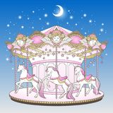 Merry go round with horses over blue night sky with moon and stars hand drawn print design for kids in pastel colors vector illust. Ration Royalty Free Stock Images