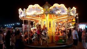 Merry Go Round illuminated stock footage