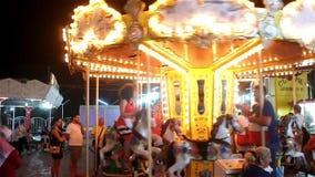 Merry Go Round illuminated stock video footage