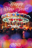Merry-Go-Round illuminated at night. New year greeting on background with blurred carousel and bokeh. Merry Christmas and Happy Ne Stock Images