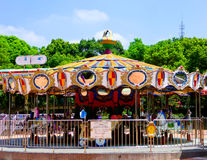 Merry-go-round inside Shanghai park Royalty Free Stock Photography