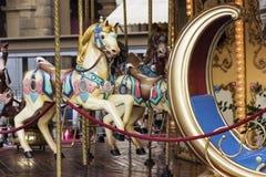 Merry-go-round on Piazza della Repubblica in Florence in Italy Stock Image