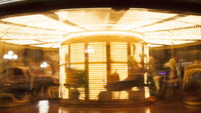 Merry-go-round. Time lapse. Merry-go-round carousel at night. Time lapse stock video footage