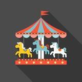 Merry go round vector. In funfair, merry go round icon, flat design royalty free illustration