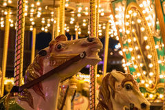 Merry-go-round in Winter Wonderland. Merry-go-round in a Christmas fair, Winter Wonderland Stock Photo