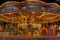 Merry-go-round in Winter Wonderland. A Christmas fair in London Royalty Free Stock Image