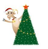Merry goat and christmas tree Royalty Free Stock Photos