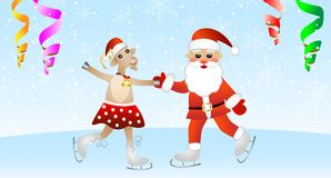 Merry goat in a skirt and Santa claus on skates Royalty Free Stock Photography