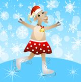 Merry goat in a skirt on skates Royalty Free Stock Photography