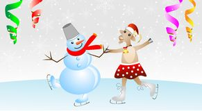Merry goat in a skirt and snow man on skates Royalty Free Stock Photo
