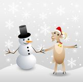 Merry goat and snow man Stock Image