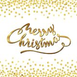 Merry gold confetti 2. Merry Christmas. Abstract pattern of random gold dots with calligraphy lettering in center. Hand drawn invitation. Handwritten modern Stock Images