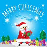 Santa Carry Gift and Merry Christmas  Blues Background Tree Cartoon. 
