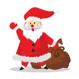 Santa Say Hello and bag Cartoon. Merry happy celebration holiday christmas Stock Photography