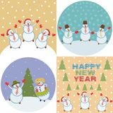 Merry happy snowmen stock photography