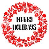 Merry Holidays red vector card with christmas wreath Stock Image