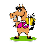 Merry horse with a gift logo Royalty Free Stock Image