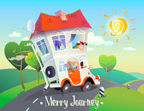 Merry Journey. Cheerful creative cartoon illustration on autotravel. A bright, stylized image of a house on wheels with an amusing family that rides along the stock illustration