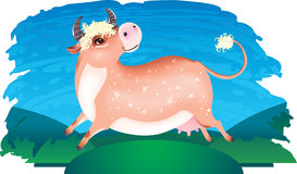 Merry jumping cow Royalty Free Stock Photo