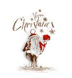 2400Merry Kerstmis! De Hand Schetsmatige tekening van de beeldverhaalstijl van een pret Stock Fotografie