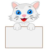 Merry kitten holds a clean banner. Vector illustration Stock Photos
