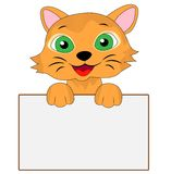 Merry kitten holds a clean banner. Vector illustration Stock Images