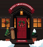 Merry Kwanzukkahmas (combination of Kwanzaa, Hanukkah and Christmas) front door Royalty Free Stock Photos