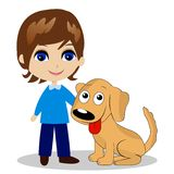 Merry little boy with a dog Stock Images