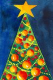 Merry X-Mas!. Funny and colorful christmas tree, created and painted by the photographer in watercolor technique Royalty Free Stock Photo